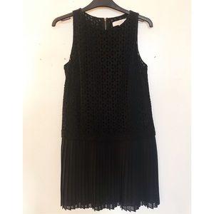 LOFT black eyelet shift mini dress